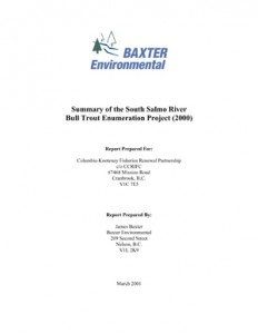 Summary of the South Salmo River Bull Trout Enumeration Project (2000)