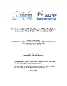 Report on Non-Sportfish Abundance and Migration Patterns in the Salmo River: Winter 1999 to Summer 2000