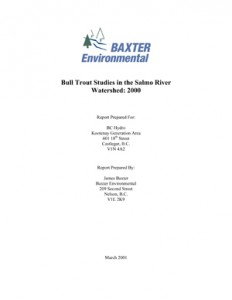 Bull Trout Studies in the Salmo River Watershed: 2000