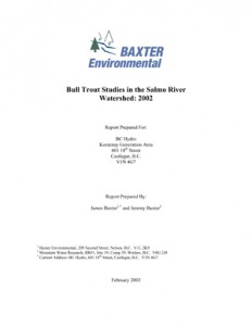 Bull Trout Studies in the Salmo River Watershed: 2002