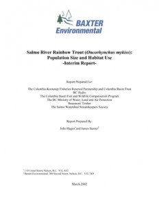 Salmo River Rainbow Trout (Oncorhynchus mykiss): Population Size and Habitat Use: Interim Report